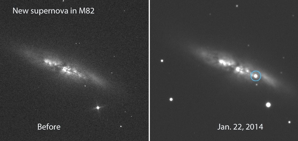 Supernova i M82. Foto: E. Guido, N. Howes, M. Nicolini