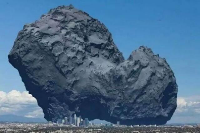 Illustrasjon: Michel @quark1972 Comet 67P Churyumov-Gerasimenko i samme skala som Los Angeles sentrum